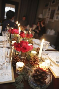 Add a festive touch to holiday parties with red roses, pine cones, and Christmas Greens! Shop roses, pine cones, and Christmas greens at GrowersBox.com!