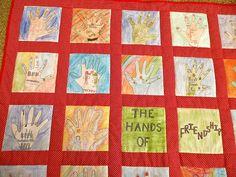 Handprint and Footprint Art : Handprint Quilts- Round Up Respect Activities, Team Building Activities, Creative Activities, Friendship Activities, Friendship Art, Kindergarten Art Lessons, Preschool Arts And Crafts, Global Awareness, Footprint Art