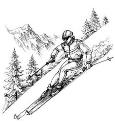 Illustration of Skier in mountains landscape vector art, clipart and stock vectors. Mountain Landscape Drawing, Landscape Drawings, Ski Drawing, Skiing Tattoo, Mountain Sketch, Ski Posters, Summer Painting, Sketch A Day, Snow Skiing