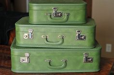 Vintage Set of Green Suitcases  Photography Prop by PrimitiveMoose, $60.00