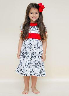 Special Occasion White & Black Damask Sash Dress