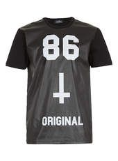 BLACK 86 LEATHER LOOK FRONT T-SHIRT