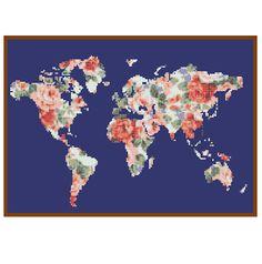 World map cross stitch pattern cross stitch continent atlas world map cross stitch pattern modern cross stitch pattern floral cross stitch globe wall art gift gumiabroncs Images