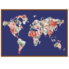 Bogo free world map cross stitch pattern floral world map world map cross stitch pattern floral world map silhouette flowers counted cross stitch chart modern decor pdf download 025 17 pinterest cros gumiabroncs Gallery