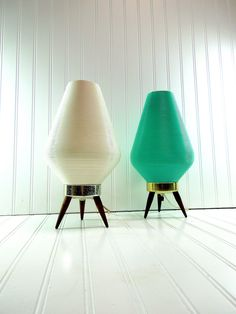mid century lamps | Vintage Mid Century Beehive Lamps Atomic Retro Lights Turquoise White