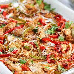 Sheet Pan Fajitas - Toss all the goodies with spices and a bit of olive oil.in the oven it goes! Dinner done! (Chicken Fajitas Whole Paleo Recipes, Mexican Food Recipes, Dinner Recipes, Cooking Recipes, Mexican Dishes, Chinese Recipes, The Bo, Fajita Recipe, Dinners To Make