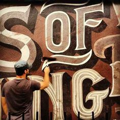 Ged Palmer adding texture to hand painted type  |  #handlettering