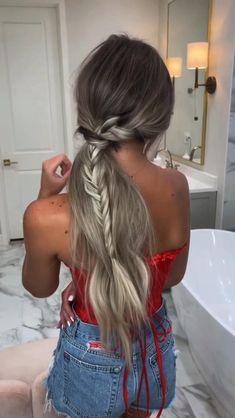 Hairdo For Long Hair, Easy Hairstyles For Long Hair, Braided Hairstyles, Cute Simple Hairstyles, Work Hairstyles, Bohemian Hairstyles, Hairstyle Ideas, Hair Upstyles, Aesthetic Hair