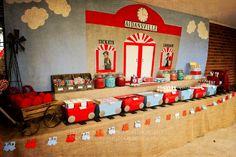 Vintage train station birthday party.