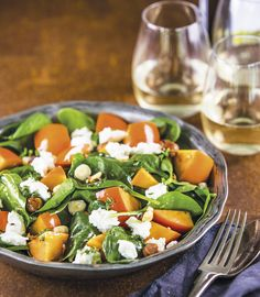 RECIPE BERNADETTE HOGG PHOTOGRAPH JAE FREW ISSUE 89 READY IN 15 MINUTES SERVES 4 250g bag baby spinach leaves 2 persimmons, ripe but firm, chopped into chunks ½ cup hazelnuts, lightly toasted and r...