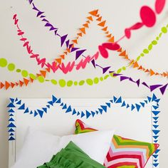 Kids' Room Hanging Décor: Colorful Lime Green Shape Circle Garland in Hanging Décor | The Land of Nod