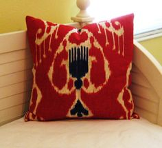 Red and Blue Ikat Linen Pillow Cover - http://www.sewsusiedesigns.com/product/red-and-blue-ikat-linen-pillow-cover/