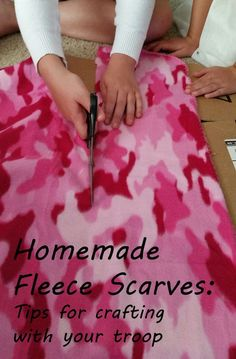Homemade Fleece Scarves: An Easy Scout Service Project Help warm a neighbor in need with a no-sew fleece scarf. Easy service project for Girl Scouts, Cub scouts, church youth groups and American Heritage Girls. Daisy Girl Scouts, Girl Scout Troop, Scout Leader, Cub Scouts, Service Projects For Kids, Sewing Projects For Kids, Sewing For Kids, Service Ideas, Service Club