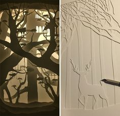 I find so much beauty in Papercut lightboxes. They look magical yet are quite difficult to make.   I hand cut all of my work using an X-Acto blade.