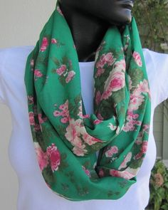 Emerald green pinkShabby chic floral cotton fabric by Scarves2012, $18.00