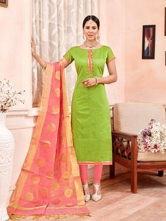 light green chanderi cotton suit with pink banarasi jacquard suit
