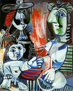'The family', Oil by Pablo Picasso (1881-1973, Spain)
