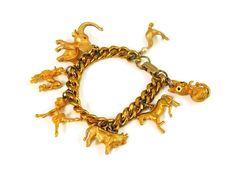 Chunky Vintage Charm Bracelet Rich Gold Tone by PremierAntiquesNY