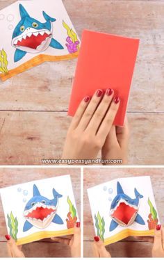 Shark Pop Up Card (Plan Inside) - Kids crafts - Origami Spring Crafts For Kids, Paper Crafts For Kids, Diy Arts And Crafts, Diy Craft Projects, Diy For Kids, Easy Crafts, Craft Ideas, Easy Diy, Fathers Day Crafts