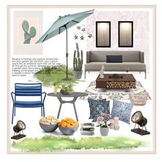 """""""Outdoor I adore"""" by jennross76 ❤ liked on Polyvore featuring interior, interiors, interior design, home, home decor, interior decorating, ExceptionalSheets, Korbo, AK47 and Graham & Brown"""