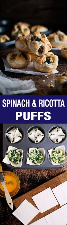 Spinach & Ricotta Puffs - A cute twist on the usual pockets, made in a muffin tin!