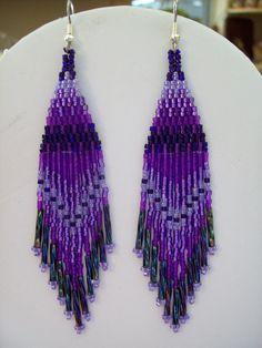 Native American Style Beaded Purple Earrings by BeadedCreationsetc Beaded Earrings Patterns, Seed Bead Patterns, Seed Bead Earrings, Beading Patterns, Seed Beads, Dangle Earrings, Native American Earrings, Native American Beadwork, Native American Fashion