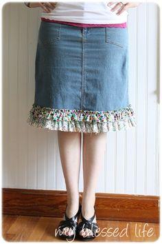 DIY ruffled denim skirt refashion - tutorial