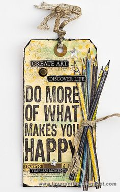 Tag by Anna-Karin Evaldsson using Darkroom Door Pencils Eclectic Stamp and Happy Quote Stamp.