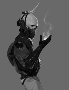Bone Head by Robotpencil, Sci Fi Painting, Character Design, Digital Painting, Inspirational Art
