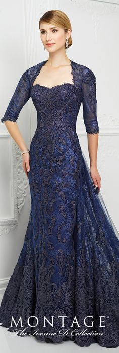 Formal Evening Gowns by Mon Cheri - Fall 2017 - Style No. 217D83 - navy blue lace sheath evening dress with 3/4 sleeves, keyhole back and detachable train