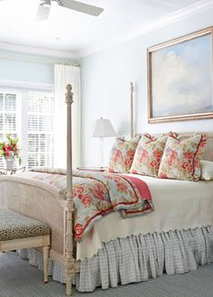 Red and light blue totally work with the white and neutrals woods.