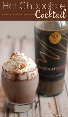 Chocolate Wine Hot Chocolate - (For two serv­ings) Heat 2 cups of milk, add 4 oz. of Choco­la­tRouge Milk Choco­late wine, and 2 tbsp of cocoa pow­der or hot cocoa mix. Stir until well-combined. Pour into glasses. Top with whipped cream and cin­na­mon.