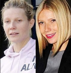with and without makeup: I love Gwenneyth but I love her better with makeup on.