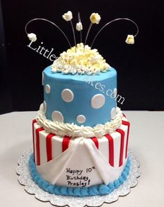 """Carnival Themed Cake by LittleSnowflakes. Chocolate Cake with Vanilla Buttercream and Fondant Accents. """"Popcorn"""" is made with Buttercream and Marshmallows."""