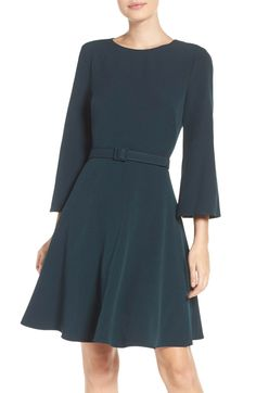 Main Image - Eliza J Crepe Fit & Flare Dress (Regular & Petite)