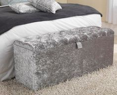 3ft Chesterfield Downham Silver Grey Crushed Velvet Deep Oned Ottoman Storage Box