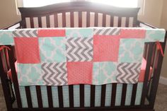 Ready to Ship: Mint Fynn Gray Chevron Coral by DesignsbyChristyS