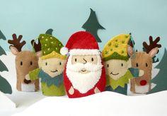 Santa's Village Set - 5 wool felt finger puppets