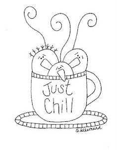 "Just Chill Snowman Stitchery Pattern From Sue Allemand of Palette Primitives (cute for a ""mug rug"")"