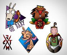 90's Nickelodeon Cartoon, Tattoos 90s Tattoos, Baby Tattoos, Tattoos For Kids, Funny Tattoos, Disney Tattoos, Tatoos, Cartoon Character Tattoos, Cartoon Tattoos, Tattoo Flash Sheet