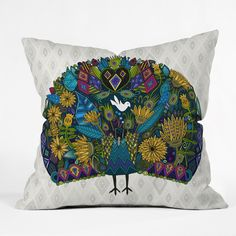 Sharon Turner Peacock Garden Throw Pillow | DENY Designs Home Accessories