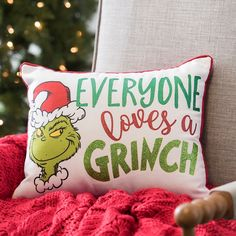 Our sweet Everyone Loves a Grinch Christmas Pillow will make your heart grow three sizes! This cozy and whimsical piece is the perfect Christmas pillow. O Grinch, Grinch Stole Christmas, Christmas Carol, Grinch Stuff, Grinch Party, Grinch Christmas Decorations, Holiday Wreaths, Christmas Ideas, Christmas Elf
