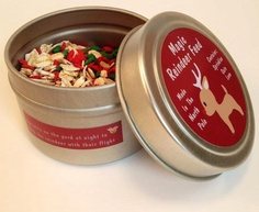 This magic feed helps the reindeer fly on Christmas Eve. Feed contains sprinkles, oats and love and comes in a collectors tin. Now only $4.95!!