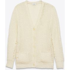 Saint Laurent Grunge Oversized V-Neck Cardigan In Ivory Metallic... ($1,350) ❤ liked on Polyvore featuring tops, cardigans, ivory, loose fitting tops, ivory top, v neck cardigan, mohair cardigan i oversized cardigan