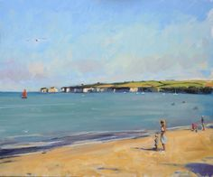 Landscape oil painting of Sandbanks in Dorset with the Cliffs of Old Harry in the background.  Artist: Charlotte Partridge