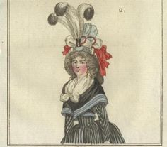 Journal des Luxus, May 1792. Every time I see these little cake-like hats on these fashions plates, I always wonder how on earth they stay on, especially with so much trimming, but I still desperately want to be able to wear one around everyday.