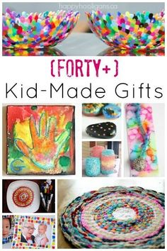 40+ kid made gifts for kids to make.  These gifts are all beautiful, practical and useful.  Grown ups will really use them!  Great ideas here for kids who craft for parents or grandparents at Christmas time or for birthdays - Happy Hooligans
