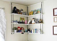 Corner Rope Shelves: These ingenious shelves use up that peskily difficult corner space and keep you from spending too much thanks to an easy DIY using hardware store items.
