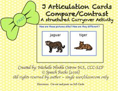 Speech Articulation ~ J Compare/Contrast Cards ~ Freebie by Speech Rocks J Sound, Compare And Contrast, Speech And Language, Speech Therapy, Vocabulary, Initials, Classroom, Positivity