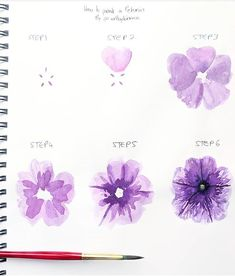 Ideas for watercolor art techniques brushes Watercolor Flowers Tutorial, Step By Step Watercolor, Watercolour Tutorials, Flower Tutorial, Watercolor Trees, Simple Watercolor, Tattoo Watercolor, Watercolor Landscape, Watercolor Animals